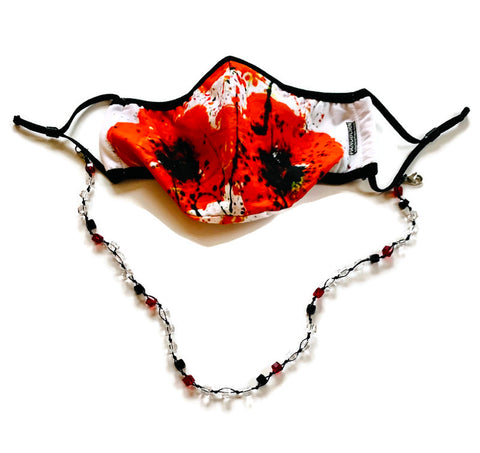Beaded Lanyard with Poppies Face Mask