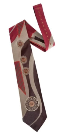Pangborn Loose Change Woven Tie in burgundy, taupe