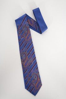 Pangborn Paisley and Diags Woven Tie in blue