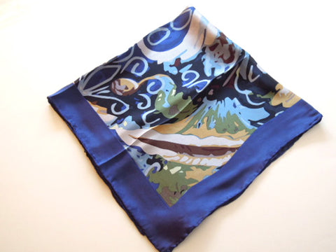 Blue and Yellow Abstract Design Silk Scarf
