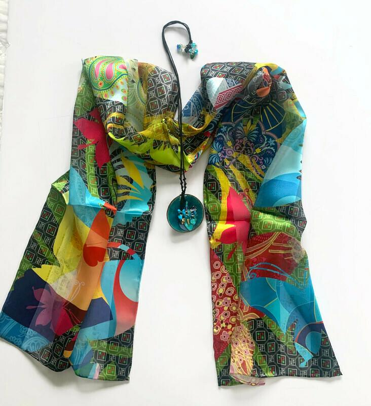 Playful Butterflies Scarf/Shades of Blue Pendant