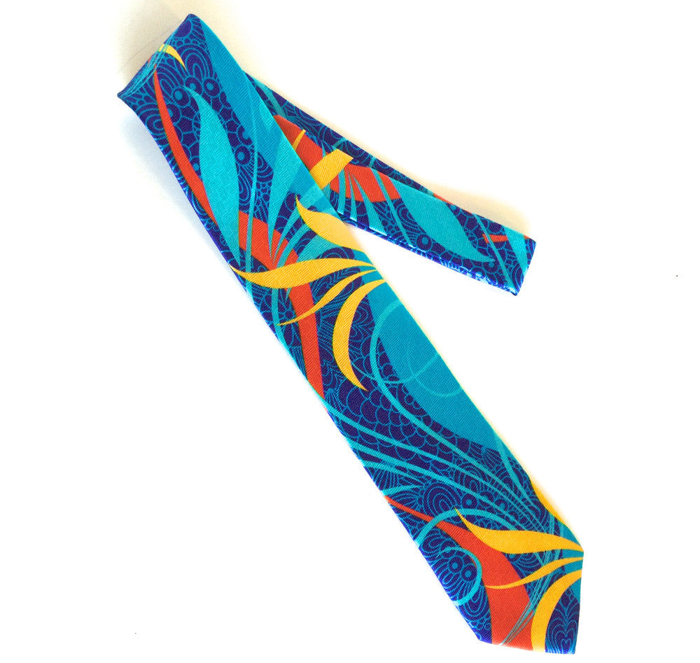Pangborn Primary Colors Silk Tie in blue, aqua
