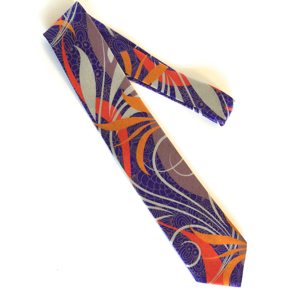 Pangborn Whimsical Silk Tie in purple, orange