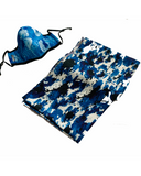 Blue Poppies Mask - Imperial Blue XL Silk Scarf