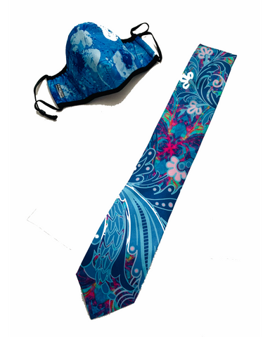 Blue Poppies Mask - Pacific Silk Tie