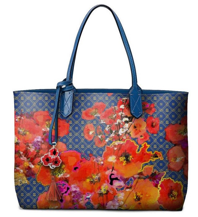 Pangborn Handbag - Orange Poppies on Blue