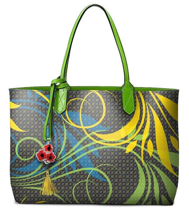 Pangborn Handbag - Swirling Leaves on Black