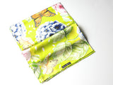 Butterflies on Lime Green Silk Scarf