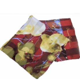Maroon Poppies Silk Scarf