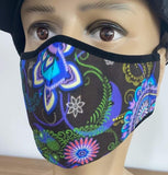 Paisley on Black Face Mask