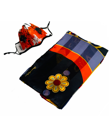 Poppies Mask - Vibrant Graphics SIlk Scarf