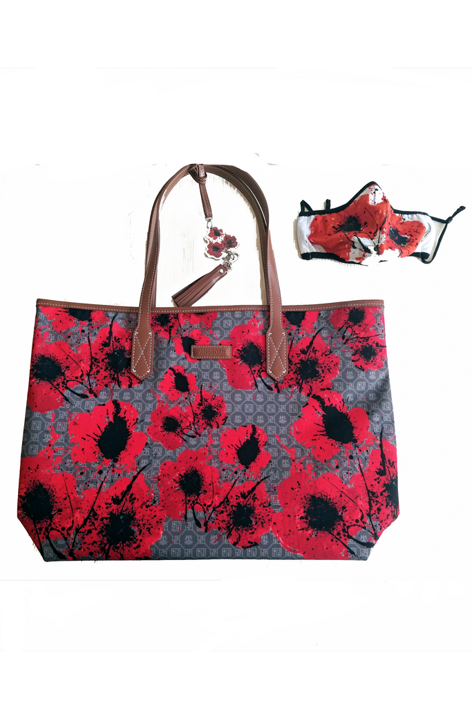 Poppies Mask and Tote Bag - Taupe