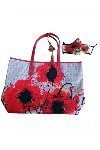 Poppies Mask and Tote Bag - White