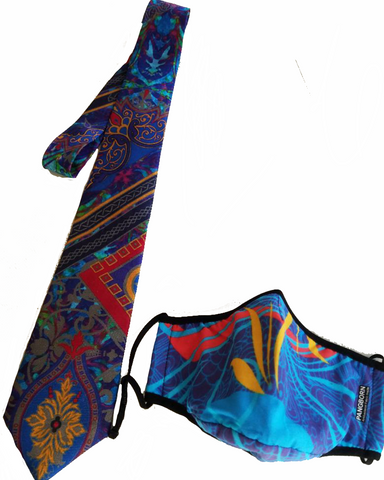 Primary Colors Mask - Rendez-Vous Blue Silk tie