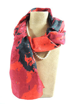 Pangborn Red and Black Silk Oblong Scarf