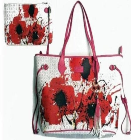 Pangborn Handbag and Clutch - Red Poppies on Pearl