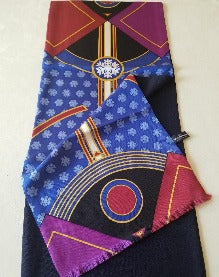 Blue, Purple and Red Lined Scarf