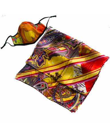 Sunny Hearts - Upbeat Diagonals Silk Scarf