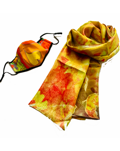 Sunny Hearts Mask - Golden Vibes XL Silk Scarf