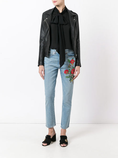 Gucci, embroidered jeans