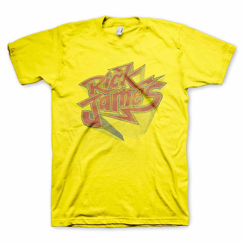Rick James Distressed Vintage Bolt Logo T-Shirt in Yellow