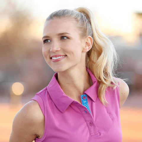 Oh Boy Pennant Sleeveless Golf Shirt for Women