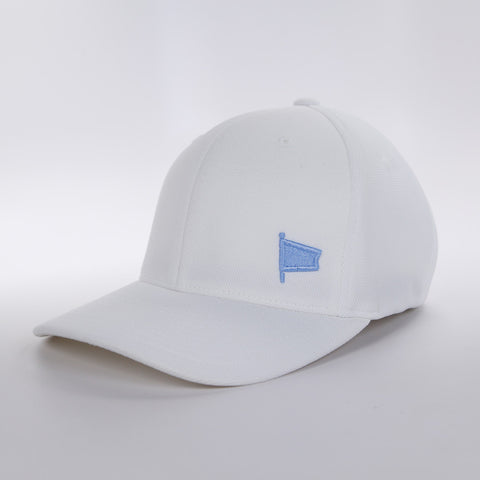 Oh Boy Solid Baby Blue Pennant Offset on White Hat