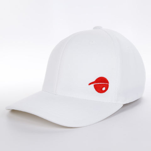 Oh Boy Sports Oh Face Solid Red Offset on White Hat