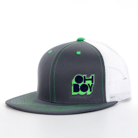 Oh Boy Safety Green Throwback Logo on Grey Trucker Hat