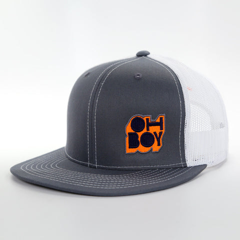 Oh Boy Safety Orange Throwback Logo on Grey Trucker Hat