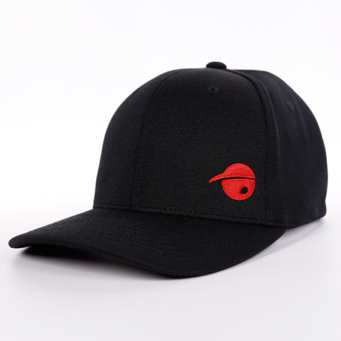 Oh Boy Sports Oh Face Solid Red Offset on Black Hat