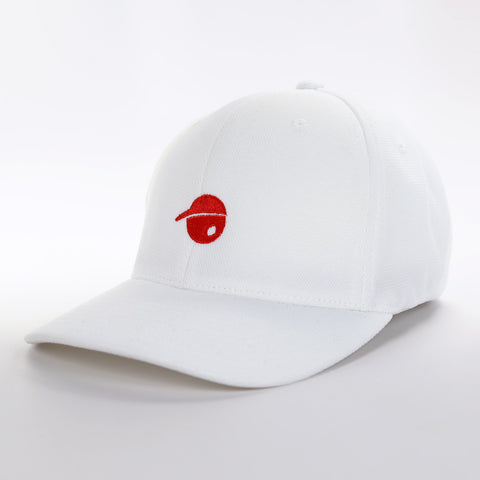 Oh Face Solid Red Logo on White Hat