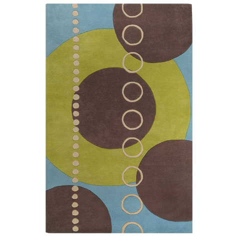 4' Square Forum Plush Pile Contemporary Hand Tufted - Wool Square 100% Wool Rug Moss Moss, Slate Blue, Mulled Wine, Desert Sand