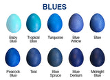 egg decorating colors - blues