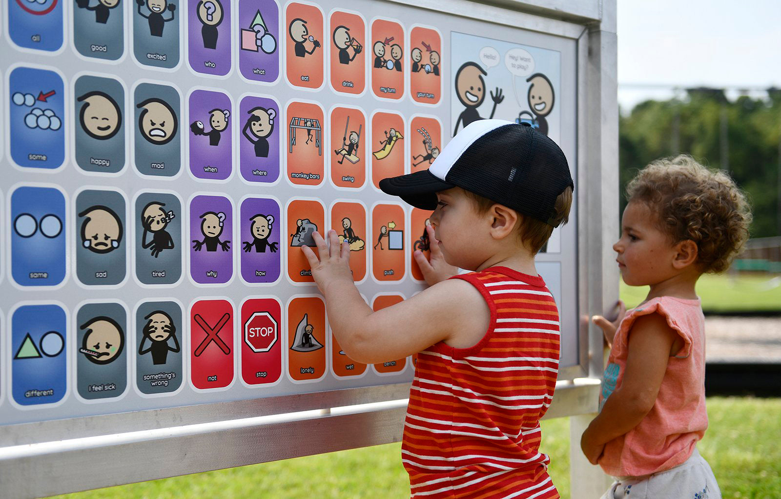 photo of children with communication board