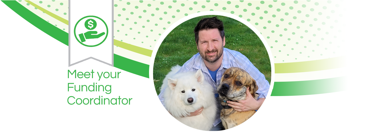 Image of Dave Killean, funding coordinator, and his two dogs