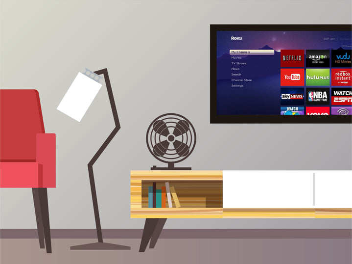 Graphic of living room with a chair, lamp, fan, bookshelf, and tv