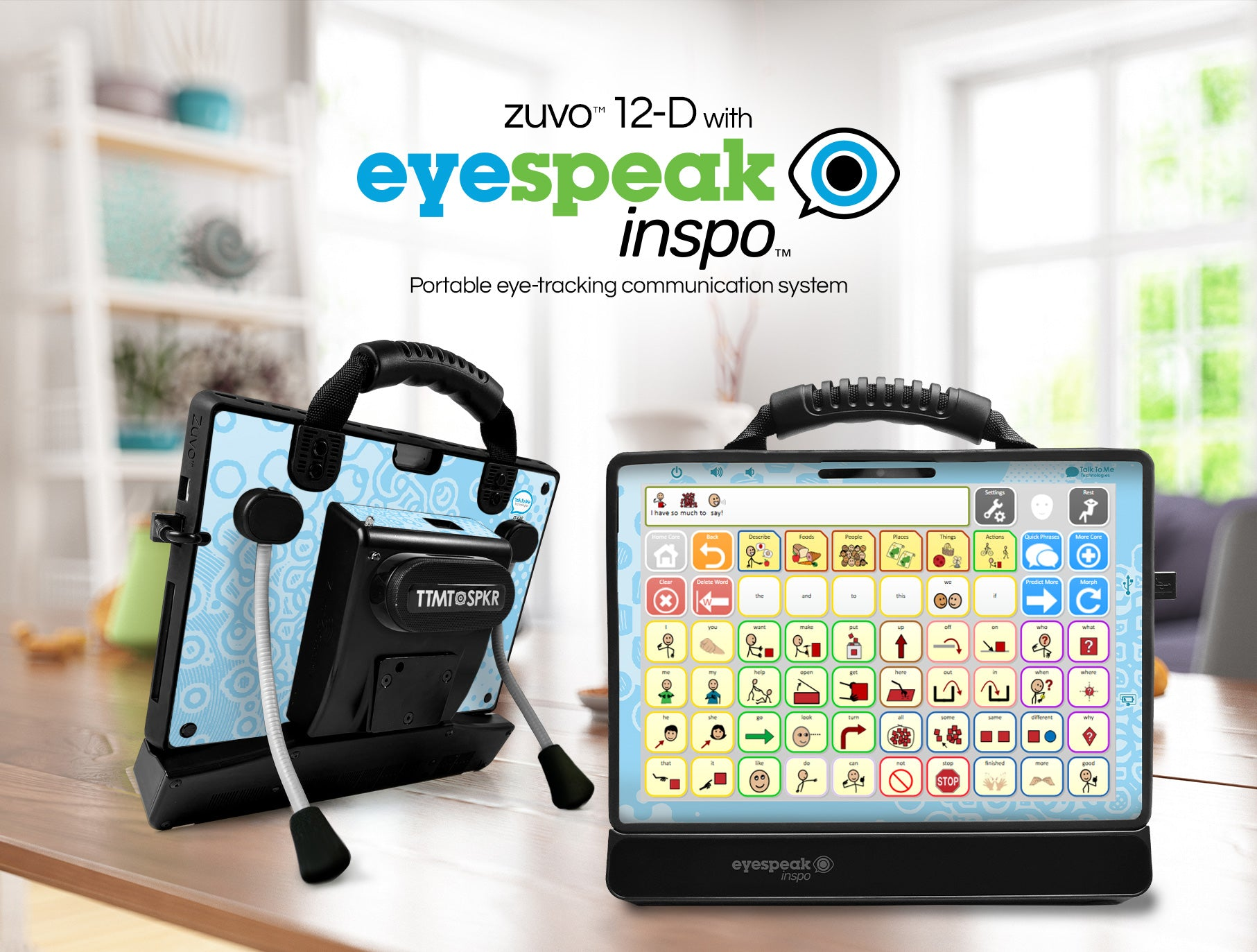 Image of zuvo 12-D speech generating device with eyespeak inspo and flexstand