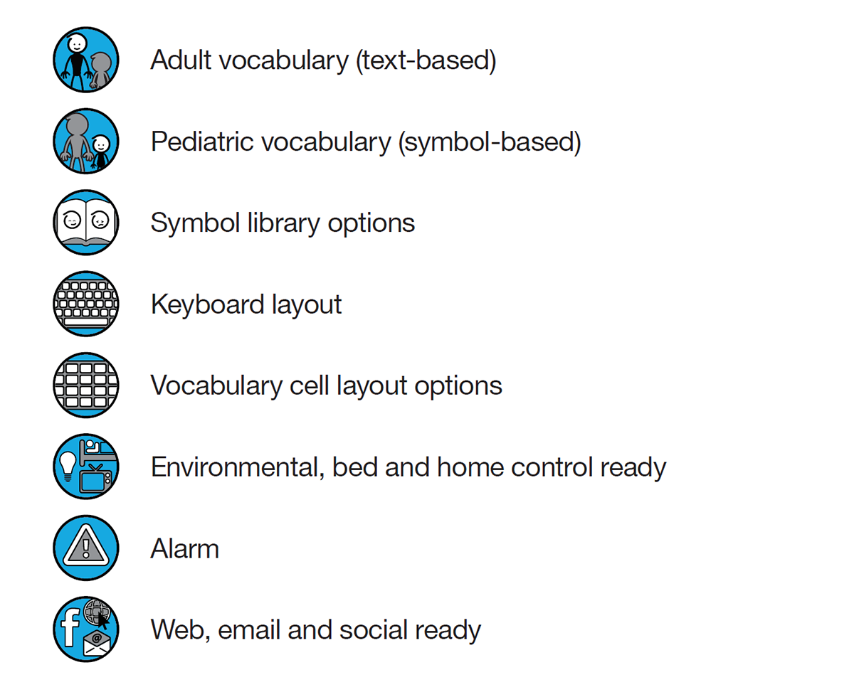 icon legend - adult vocabulary (text-based); pediatric vocabulary (symbol-based); symbol library options; keyboard layout; vocabulary cell layout options; environmental; home and bed control ready; alarm; web, email, and social ready