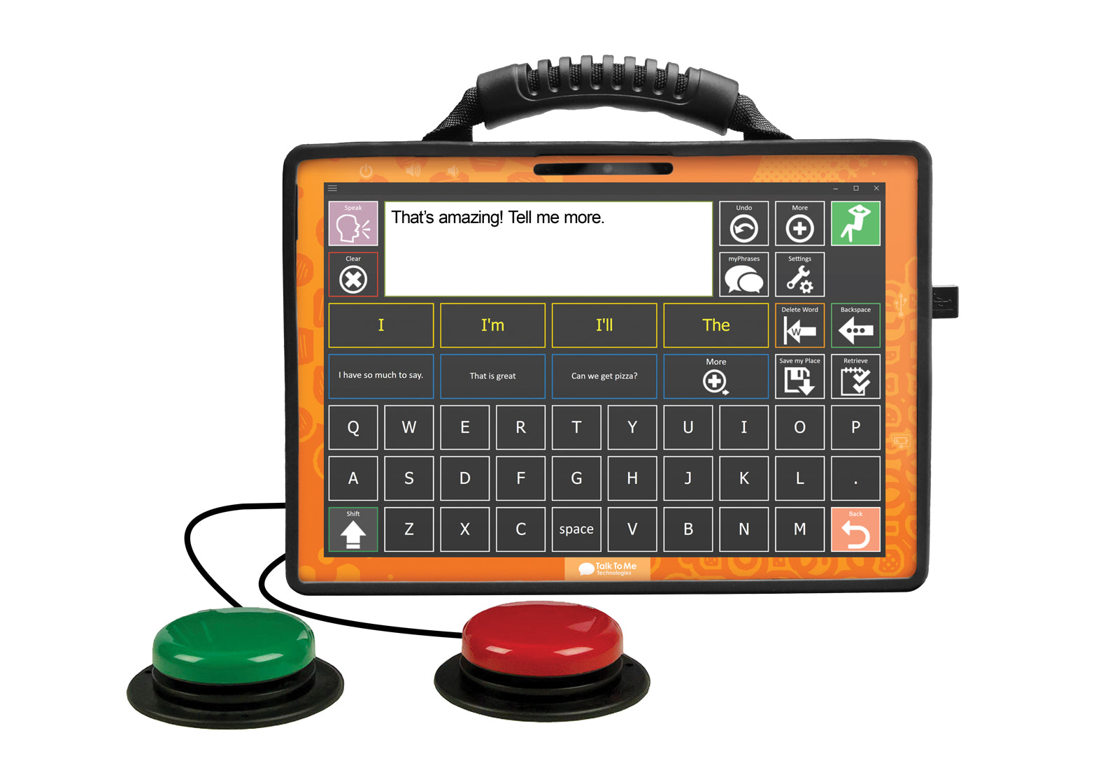 Photo of zuvo 12-D speech generating device with switch access