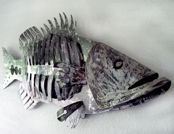Large Metal Wall Hanging Fish Art Metal Bass Sculpture