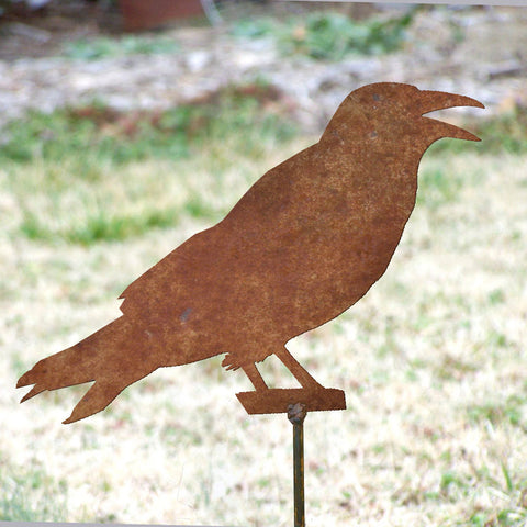 Crow cawing garden stake