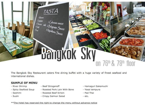 choice of menu bangkok sky restaurant