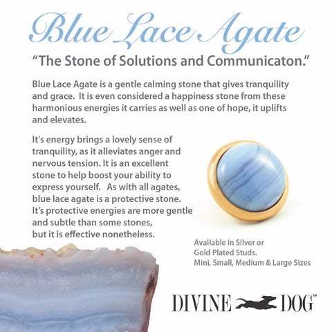 Divine Dog Gemstones for Dog Collars, Leashes and Companion Bracelets - Blue Lace Agate