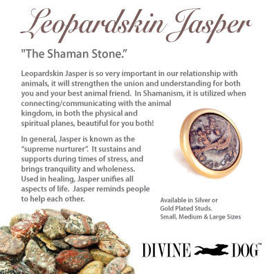 Divine Dog Gemstones for Dog Collars, Leashes and Companion Bracelets - Leopardskin Jasper