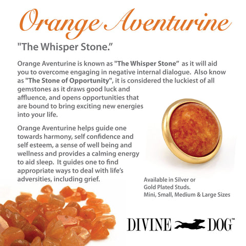 Divine Dog Gemstones for Dog Collars, Leashes and Companion Bracelets - Orange Aventurine