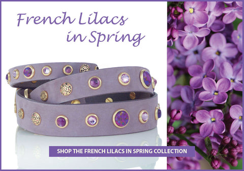 French Lilacs in Spring Collection of Dog Collars, Leashes and Owner Bracelets