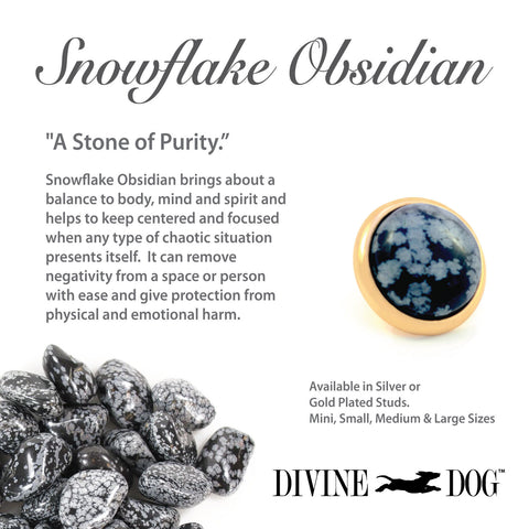 Divine Dog Gemstone Studs for Dog Collars, Leashes and Companion Bracelets - Snowflake Obsidian