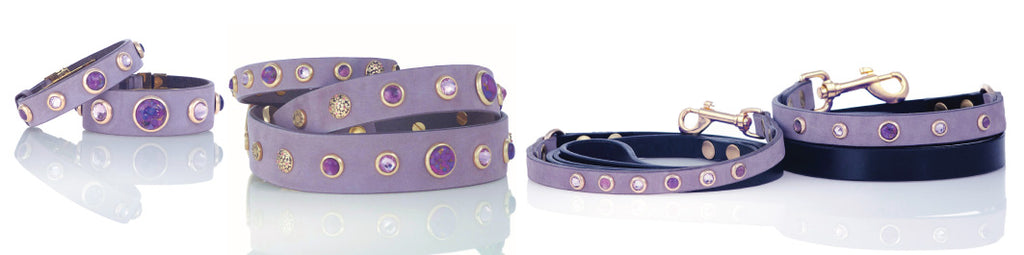 Divine Dog French Lilacs in Spring Collection Dog Collars, Leashes and Owner Bracelets with Gemstones