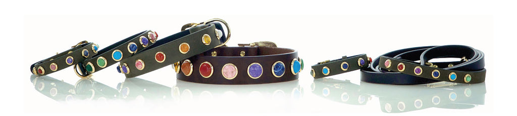 Provincetown Collection of Leather Dog Collars with Gemstones